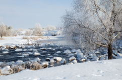 Winter landscape on the river Royalty Free Stock Images