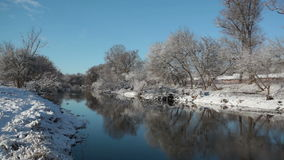 Winter landscape. With the river and trees ashore in a sunny day stock video