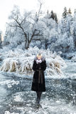 Winter landscape, river under the ice Stock Photos