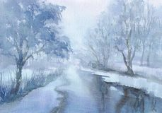 Winter landscape with a river watercolor Royalty Free Stock Images