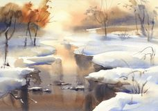 Winter landscape with a river watercolor Stock Image