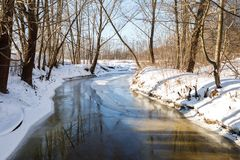 Winter landscape river Royalty Free Stock Photos