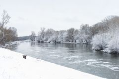 Winter landscape with river Royalty Free Stock Image