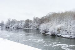 Winter landscape with river Stock Photography