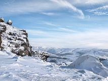 Winter landscape The Roaches. The Roaches, Peak District view in winter with snow royalty free stock photos