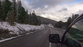 Winter landscape with the road from the car stock video footage