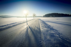 Winter Landscape with Road Covered with Snow and Blue Sky with Sun. Stock Image