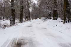 Winter landscape with a road through the forest. Winter landscape and road through the forest stock photos