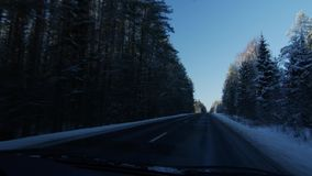 Winter landscape with the road the forest and the blue sky, car point of view stock video