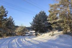 Winter landscape, Road in Russian village. Stock Photo