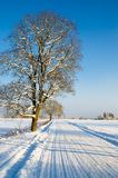 Winter landscape with road to a countryside Stock Photo