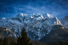 Winter landscape with rocky mountains Royalty Free Stock Photos