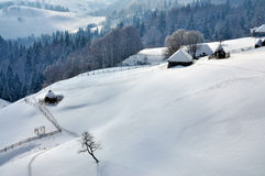 Winter Landscape in Romania Stock Images