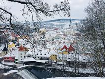Winter landscape, the roofs of the ancient city royalty free stock images