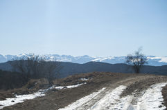 Winter landscape with rural road Royalty Free Stock Photography