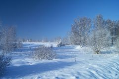 Winter landscape in rural terrain Royalty Free Stock Photos