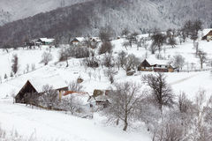 Winter Landscape. Winter rural landscape in the transylvanian village Royalty Free Stock Photo