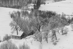 Winter Landscape. Winter rural landscape in the transylvanian village, at Bran, Brasov Stock Image