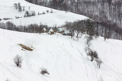 Winter Landscape. Winter rural landscape in the transylvanian village, at Bran, Brasov Stock Photos