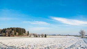 Winter landscape rural view. Frost in fields stock images