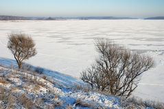 Winter landscape in Russia. Cold wide Russian landscape: lake and forest stock photos