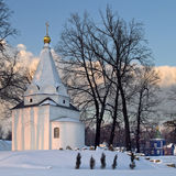Winter landscape with russian church Royalty Free Stock Photography