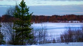 Winter landscape - Russian frozen lake, melting ice. stock photos