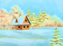 Winter Landscape, Rustic House Royalty Free Stock Photo