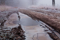 Winter landscape of a sand road on a foggy day. With frost Stock Images