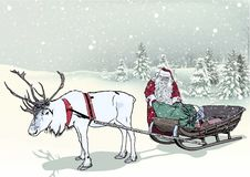 Winter Landscape and Santa Claus. With Sledge and Reindeer - Christmas Background Illustration, Vector Stock Illustration