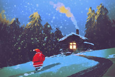 Winter landscape with Santa Claus and wooden house at Christmas night. Illustration painting Stock Photo