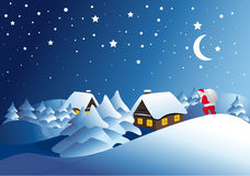 Winter landscape with Santa Clause. Winter night landscape with Santa Clause Royalty Free Stock Image