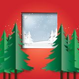 Winter landscape scene from red room. Snow and winter season landscape scene background from window in red room.Vector illustration Royalty Free Stock Image