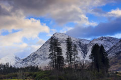 Winter landscape of Scottish nature with Glencoe mountains at Gl Stock Photography