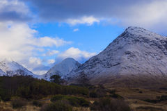 Winter landscape of Scottish nature with Glencoe mountains at Gl Royalty Free Stock Photos