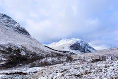 Winter landscape of Scottish nature with Glencoe mountains at Gl Stock Photo