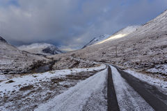 Winter landscape of Scottish nature with Glencoe mountains at Gl Stock Images