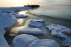 Winter landscape on the sea Stock Images