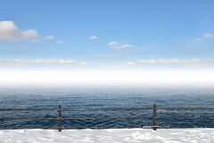Winter landscape. And sea background Royalty Free Stock Images