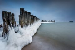 Winter landscape at the sea in Poland. stock photos