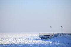 Winter landscape sea and snow and ice Royalty Free Stock Images