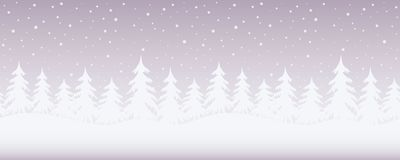 Winter landscape. Seamless border. Christmas background. There are white fir trees on a purple background. Vector illustration stock illustration