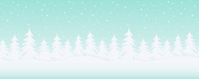 Winter landscape. Seamless border. Christmas background. There are white fir trees on a blue background. Vector illustration stock illustration