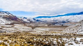 Winter Landscape in the semi desert of the Thompson River Valley between Kamloops and Cache Creek in central British Columbia. Canada Stock Photos