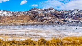 Winter Landscape in the semi desert of the Thompson River Valley between Kamloops and Cache Creek in central British Columbia. Canada Stock Photo