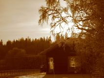 Winter landscape in sepia. Mild winter day in Finland. Ypäj Royalty Free Stock Photography