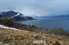 Winter landscape of Sevan - largest lake in Armenia and Caucasus Royalty Free Stock Image
