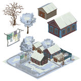 Winter landscape with several snow-covered houses Stock Photo