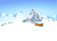 Winter landscape with shelter Stock Images