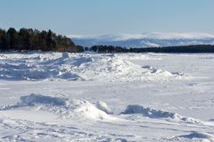 Winter landscape on the shores of the White Sea Stock Photo